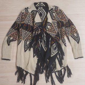 Jodifl heavy knit fringe cardigan womens size S
